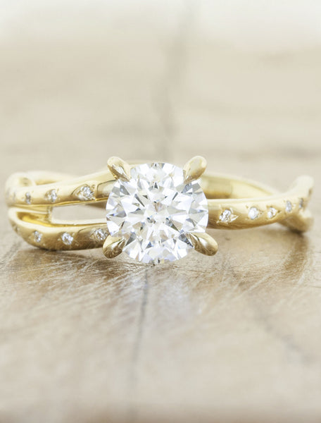 unique split shank diamond engagement ring with diamond accents - gold band