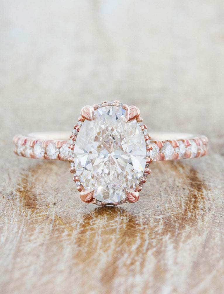 Unique engagement ring hidden halo;caption:1.50ct. Oval Diamond 14k Rose Gold