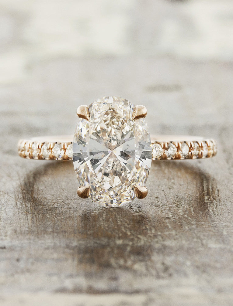 peach sapphire engagement ring, rose gold pave band;caption:2.00ct. Oval Diamond 14k Rose Gold