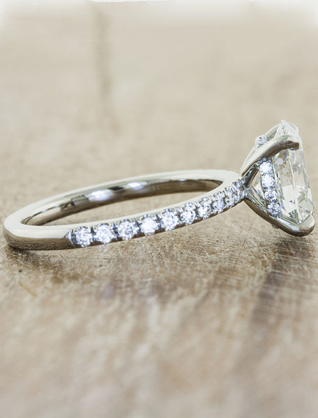 oval diamond engagement ring, pave band