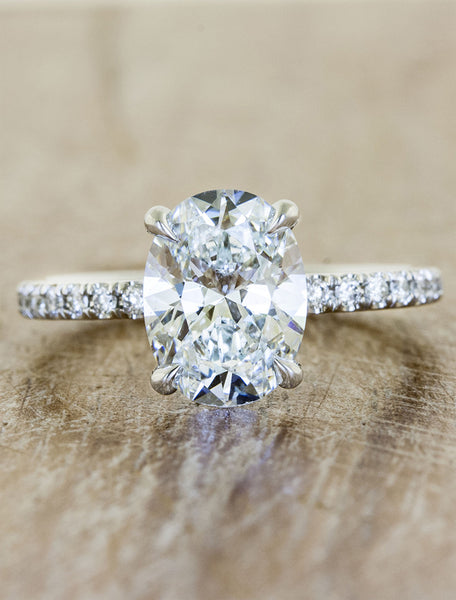 oval diamond engagement ring, pave band;caption:1.90ct. Oval Diamond Platinum