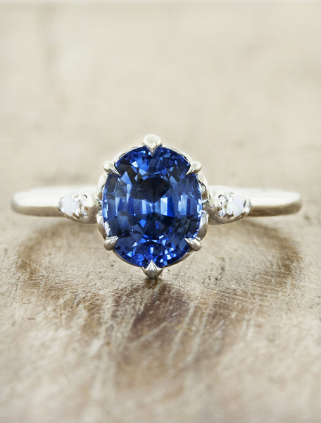 blue gemstone engagement ring