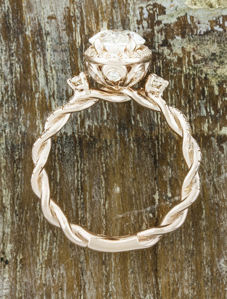 elegant vintage inspired twisted band diamond ring