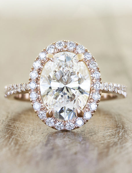 Verity halo engagement ring caption:1.95ct. Oval Diamond 14k Rose Gold