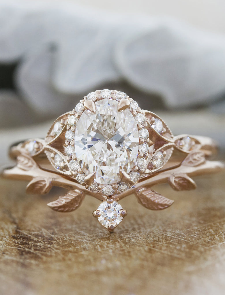 caption:1.25ct. Oval Diamond 14k Rose Gold paired with Adelixa wedding band
