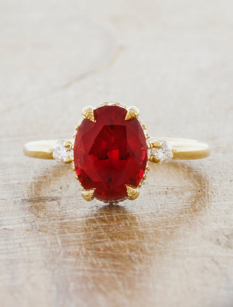 caption:Customized with a Ruby center stone