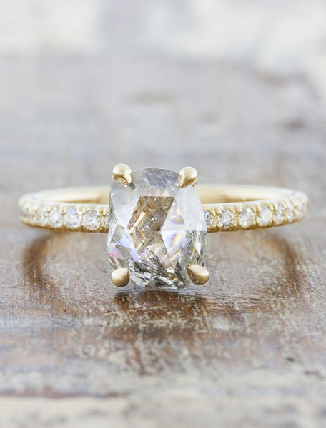 Classic Rough Cut Diamond, Yellow Gold Engagement Ring