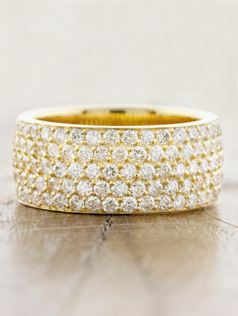women's 8mm wide diamond studded band - yellow gold