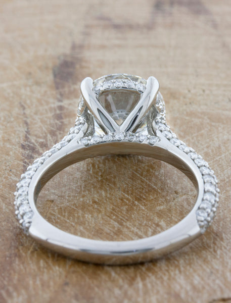 2 ct diamond solitaire ring, triple pave band