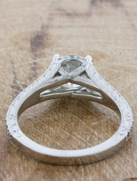 Vintage Inspired Split Band Hand Engraved Engagement Ring - Double Arching Shank