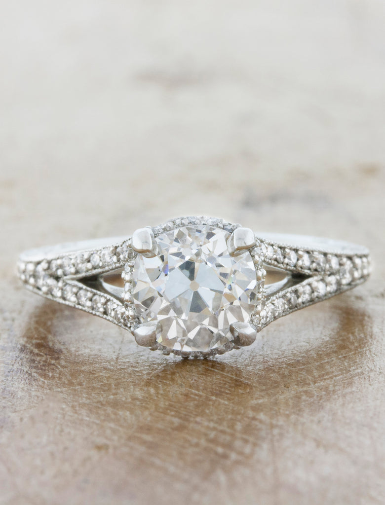 Vintage Inspired Split Band Hand Engraved Engagement Ring. caption:Set with 1.35ct Old European cut diamond