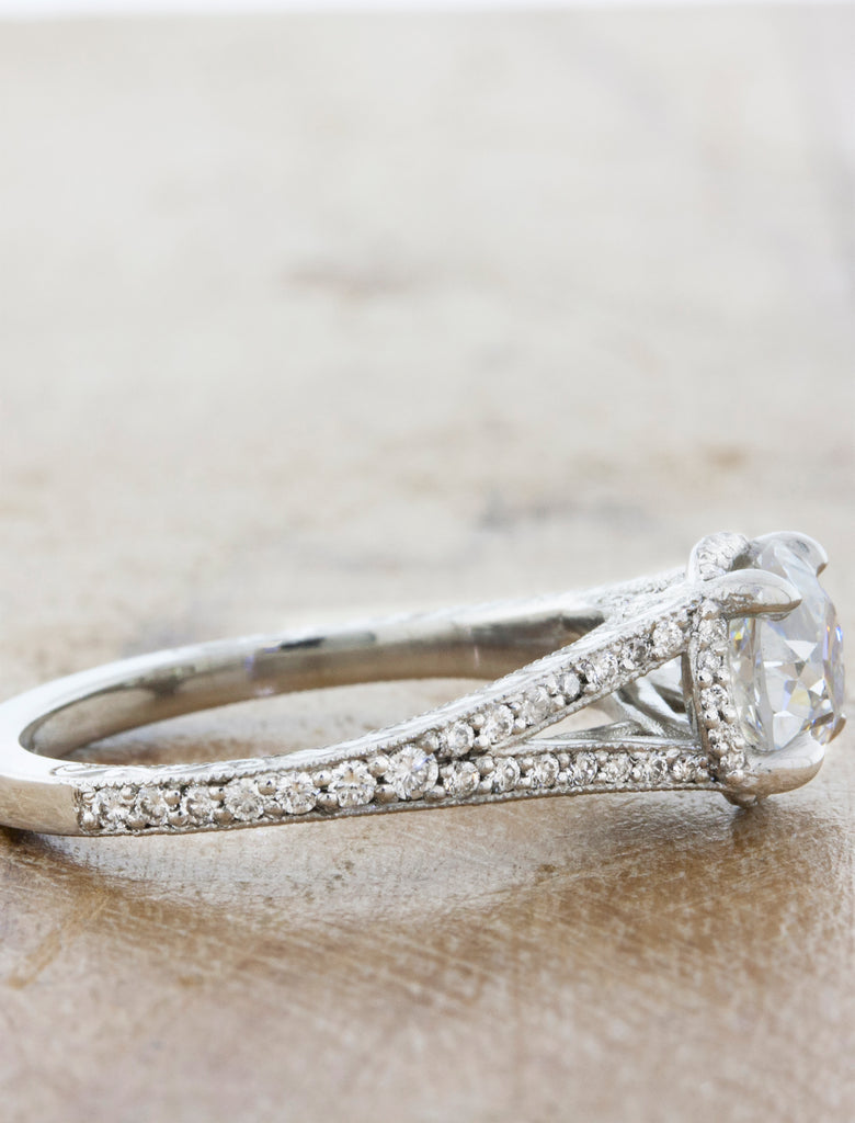 Vintage Inspired Split Band Hand Engraved Engagement Ring - Split Shank