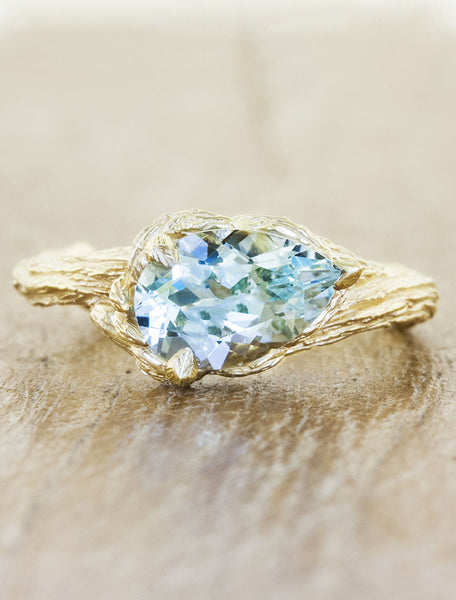 pear shaped aquamarine engagement ring, tree bark band