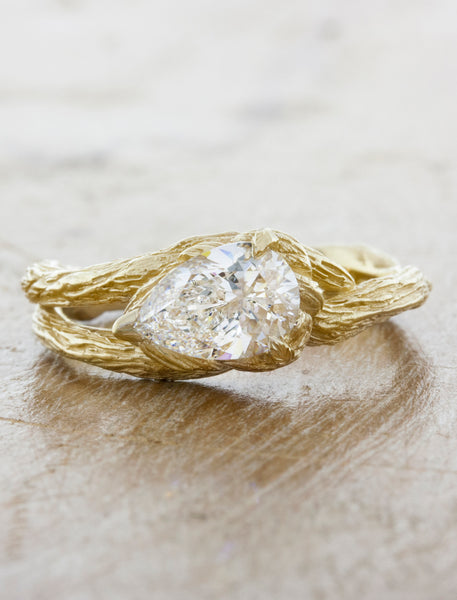 Nature inspired engagement ring bark texture split shank;caption:1.00ct. Pear Diamond 14k Yellow Gold