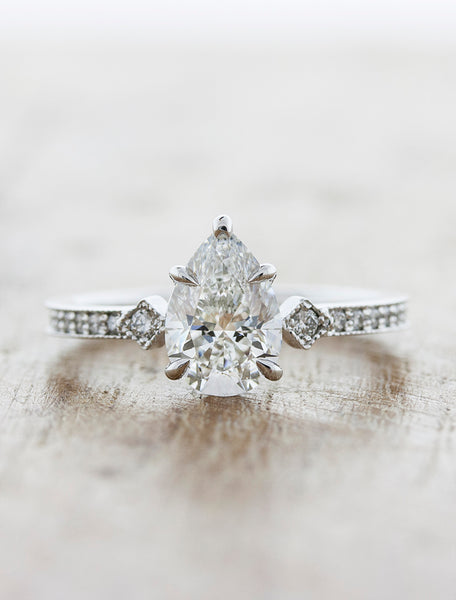 Pear shaped rough diamond engagement ring;caption:1.21ct. Pear Diamond 14k White Gold