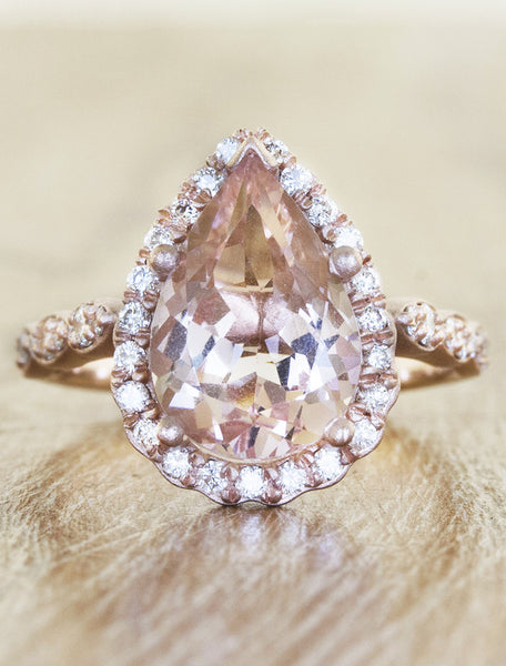 pear shaped pink morganite engagement ring