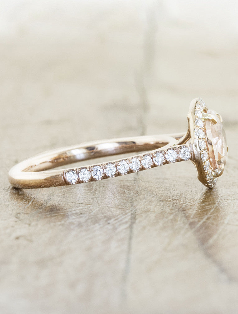 halo pear shaped morganite ring, diamond filled band