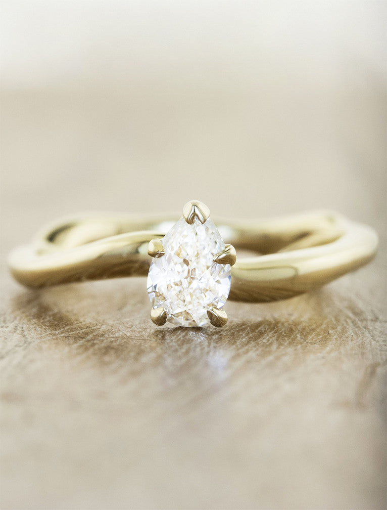 Nature Inspired Pear Cut Diamond Engagement Ring
