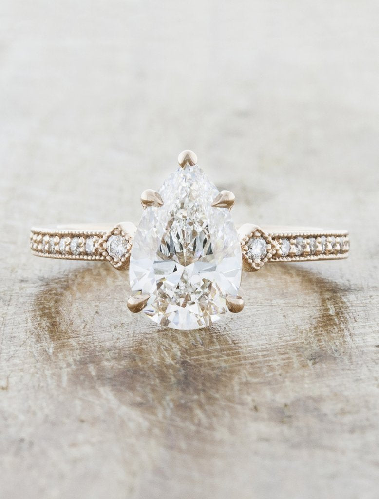 charleen pear shaped vintage engagement ring;caption:1.25ct. Pear Diamond 14k Rose Gold
