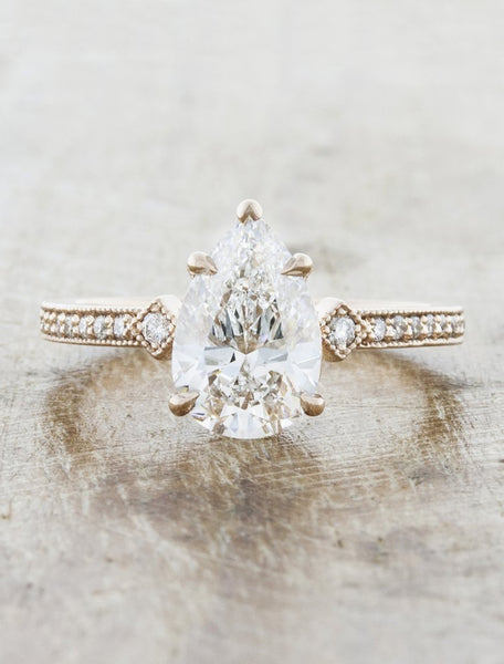 charleen pear shaped vintage engagement ring