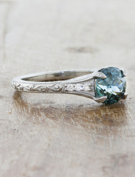 Vintage-Style Montana Sapphire Ring on Intricate Band