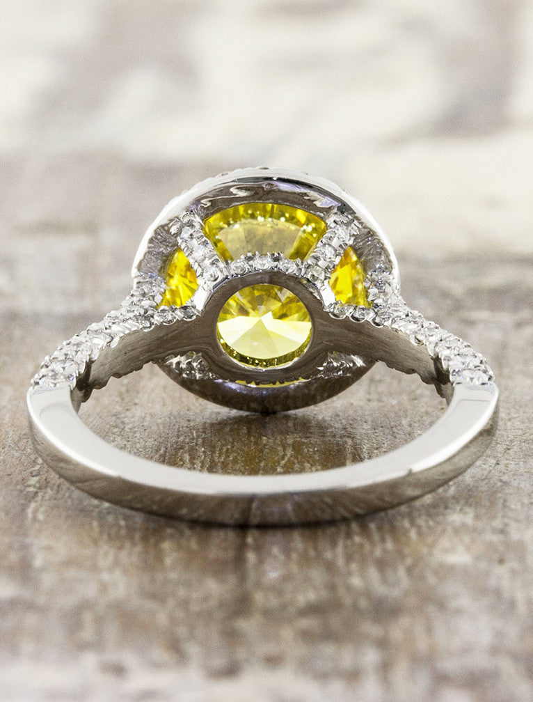 halo yellow diamond engagement ring, diamond accented band