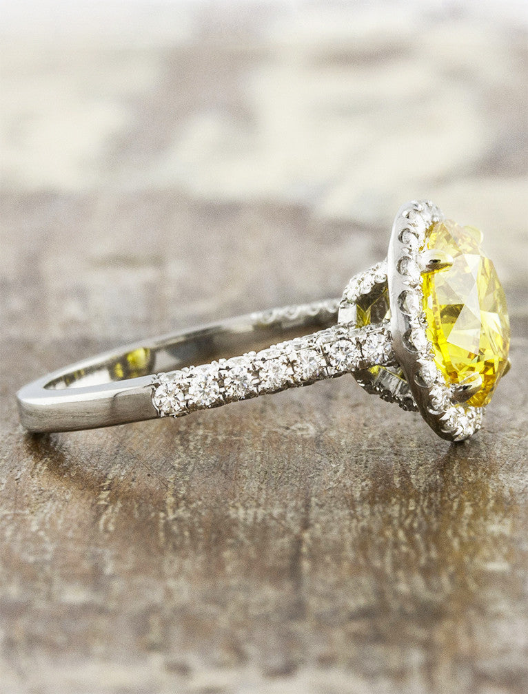 halo yellow diamond engagement ring, melini