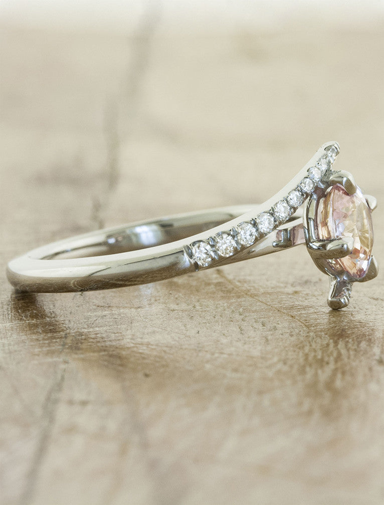 Peach sapphire engagement ring