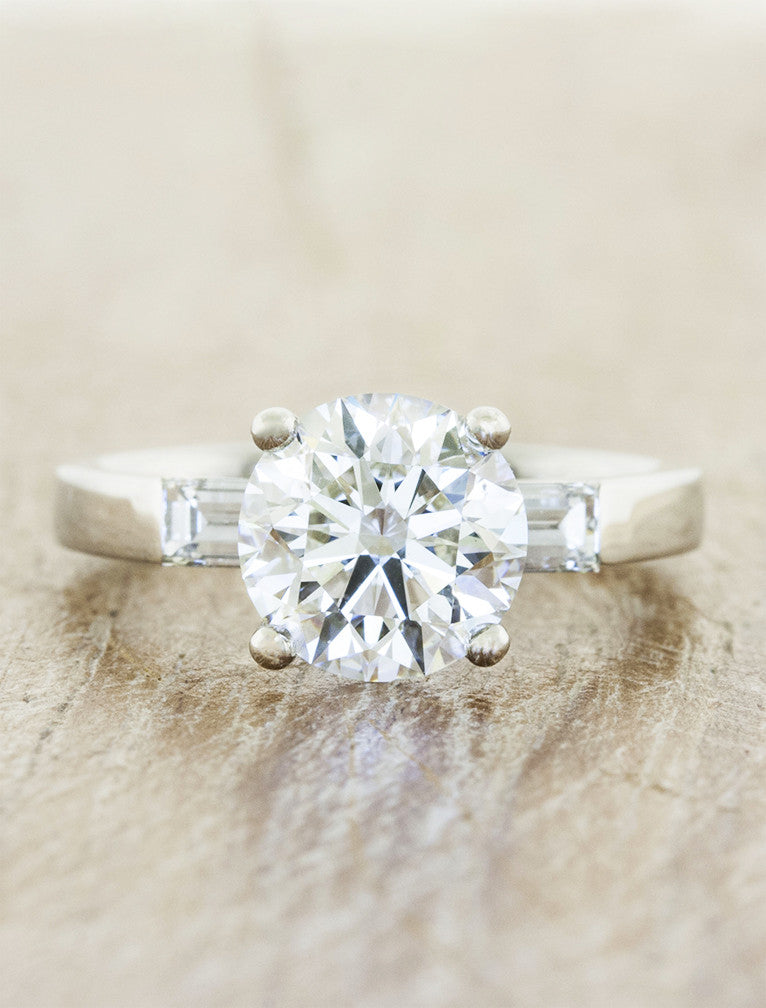 Jia Three Stone Baguette Diamond Engagement Ring Ken