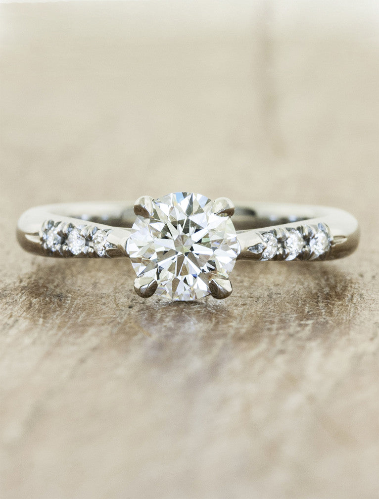 Unique vintage inspired engagement ring;caption:1.00ct. Round Diamond Platinum