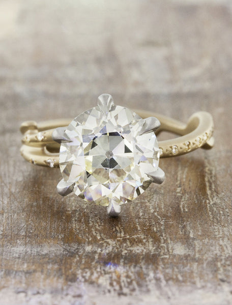 Nature inspired engagement ring;caption:2.00ct. Old European Cut Diamond 14k Yellow Gold and Platinum