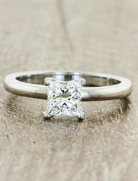 Classic solitaire - Ariya caption:0.95ct. Princess Cut Diamond 14k White Gold