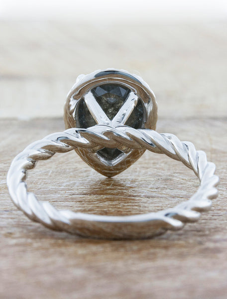 rope band engagement ring, rough diamond