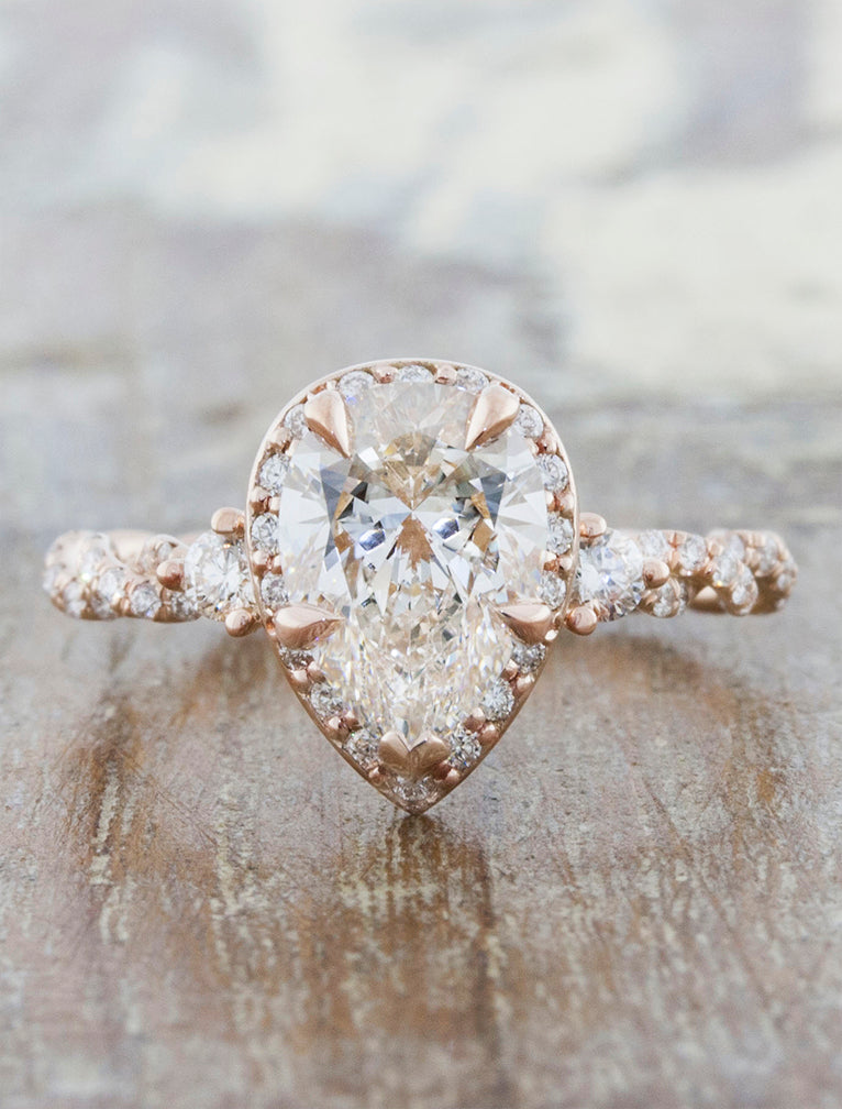 Unique pear shaped diamond rose gold engagement ring caption:1.35ct Pear Diamond 14k Rose Gold