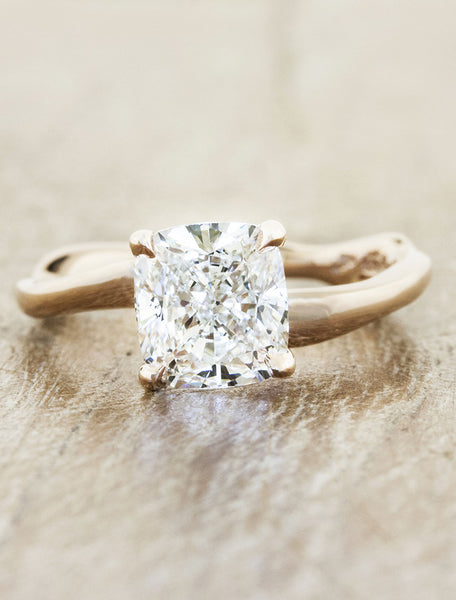 Aurora square engagement ring;caption:1.40ct. Cushion Cut Diamond 14k Rose Gold