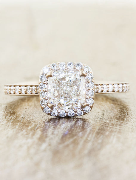 caption:Shown with an 1.20ct cushion diamond, in 14k rose gold