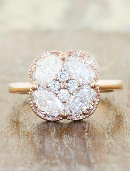 Vintage inspired multi stone engagement ring;caption:Pictured in 14k Rose Gold