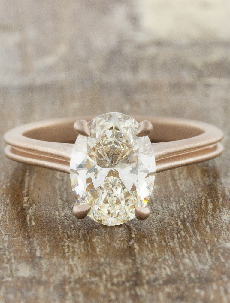Queenie Modern Rose Gold Oval Diamond Ring Ken Amp Dana