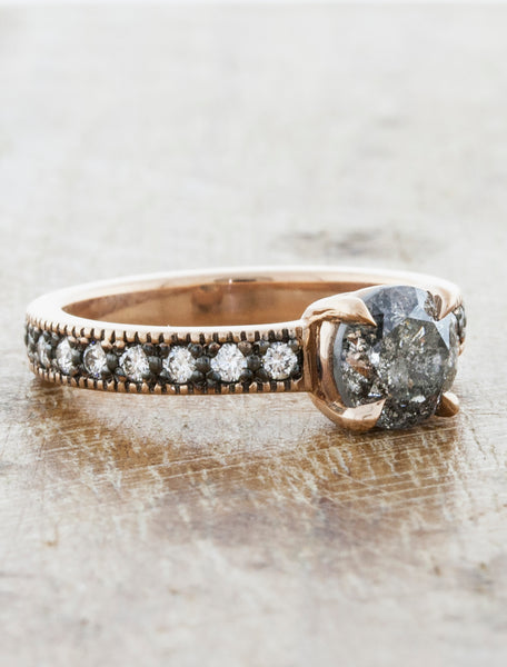 Antique-Inspired Grey Rough Diamond Ring caption: 14k Rose Gold .95ct Rough Grey Diamond