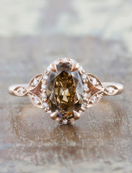 Vintage inspired engagement ring;caption:1.15ct. Oval Cognac Diamond 14k Rose Gold