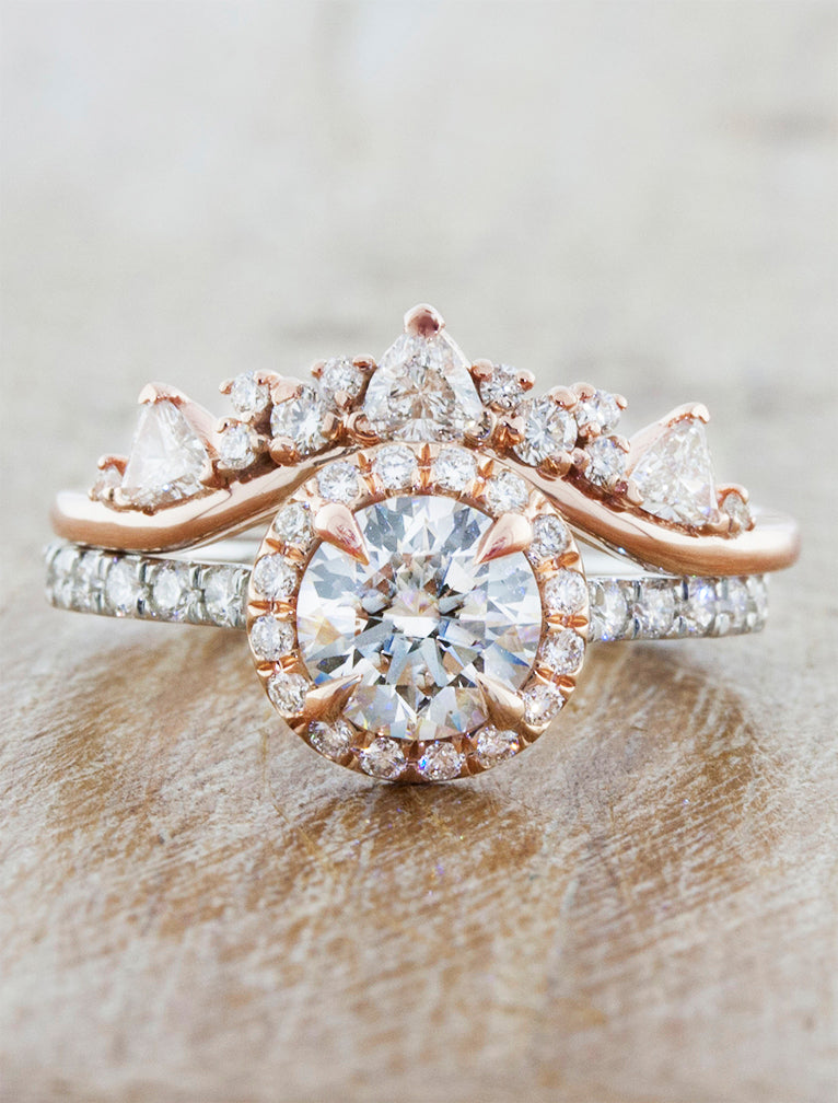 Maive Mixed Round Diamond Halo Engagement Ring In Rose