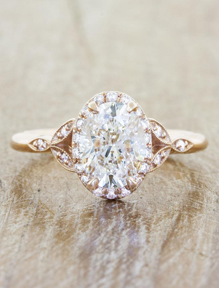 Vintage inspired engagement ring;caption:1.50ct. Oval Diamond 14k Rose Gold