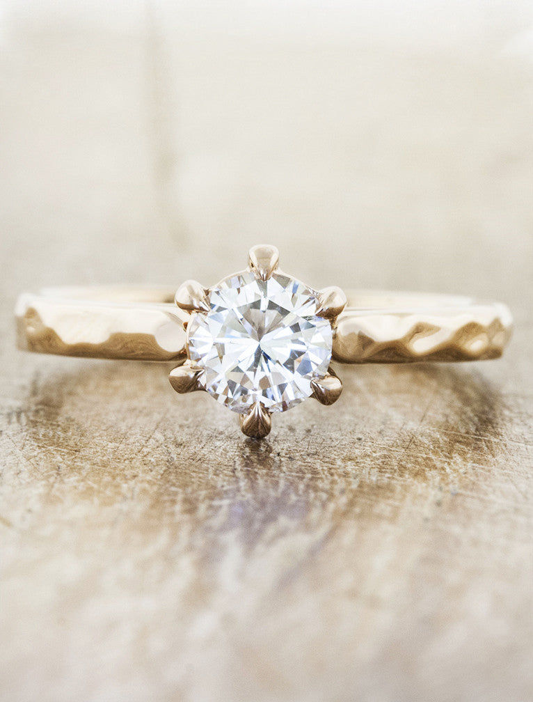 Brand-new Rose: Hammered Band Six Prong Diamond Solitaire Ring | Ken & Dana SK94