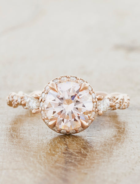oval vintage inspired diamond ring, twisted band;caption:1.50ct. Round Diamond 14k Rose Gold