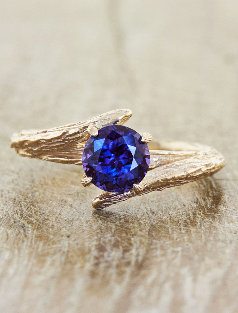 asymmetrical tree bark engagement ring - gemstone