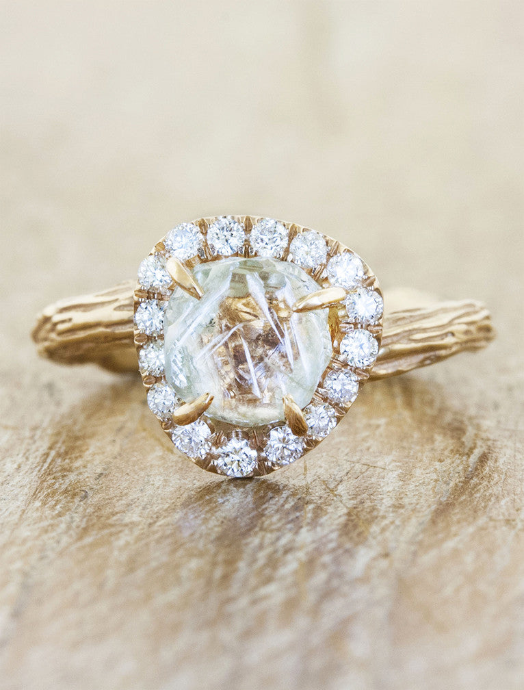 bark texture halo rough diamond ring