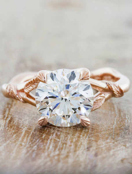 Nature inspired engagement ring - Pembroke caption:2.00ct. Round Diamond 14k Rose Gold