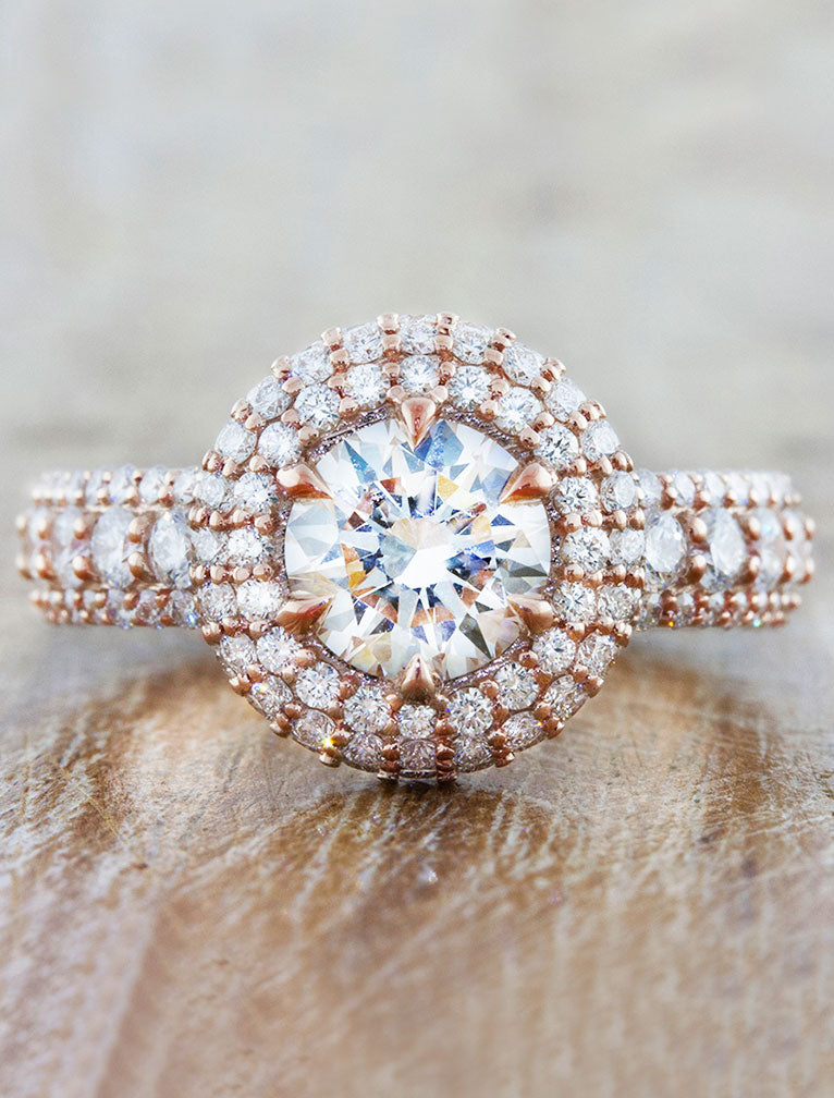 Unique rose gold halo diamond ring