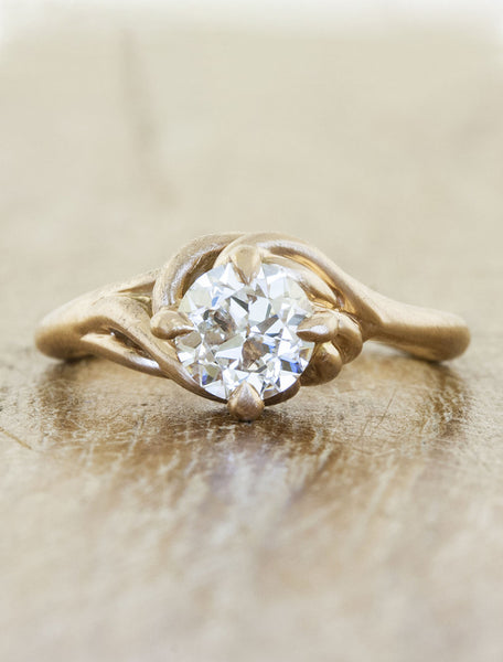 Nature inspired engagement ring - Kalyssa caption:0.60ct. Round Diamond 14k Rose Gold