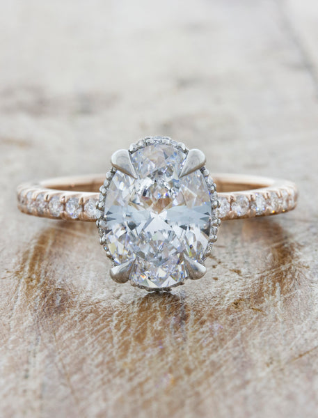 Unique engagement ring hidden halo;caption:1.60ct. Oval Diamond 14k Rose gold and Platinum